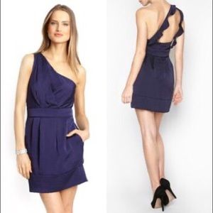 Midnight Blue One Shoulder Ruffle Pocketed Dress